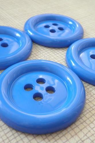 6x BLUE 5cm Jumbo Fun Buttons