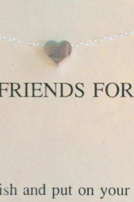 BEST FRIENDS Sterling Silver Heart Necklace, Christmas Gift