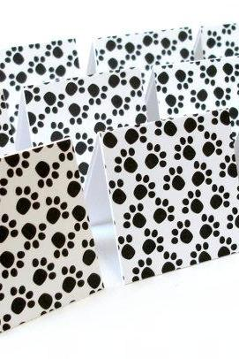 Paw Print Handmade Mini Note Cards Dog lovers Black and white mini note cards tags Set of 12