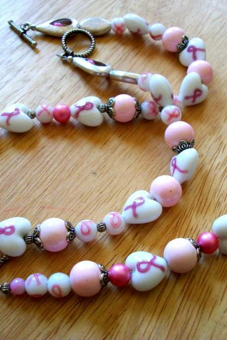 Handmade Breast Cancer Awareness Necklace and Bracelet Set with Heart Beads