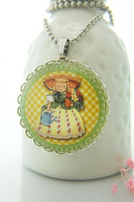 Gardener Yellow Green Dress Girl Glass 25mm Necklace