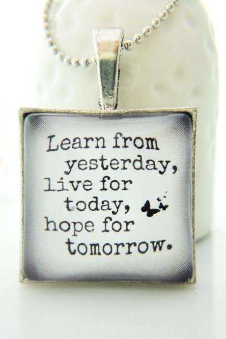 Lesson Learnt Quote Glass Necklace Keychain