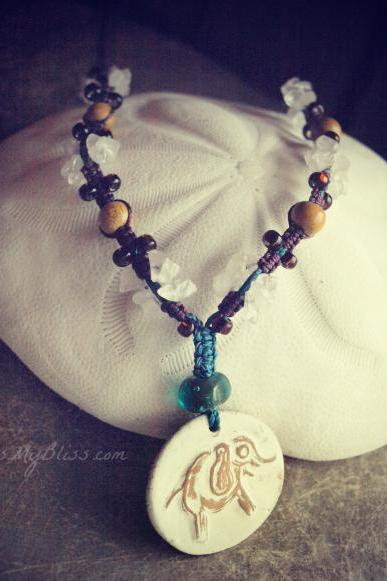 micro macrame elephant necklace with gemstones & artisan ceramic pendant