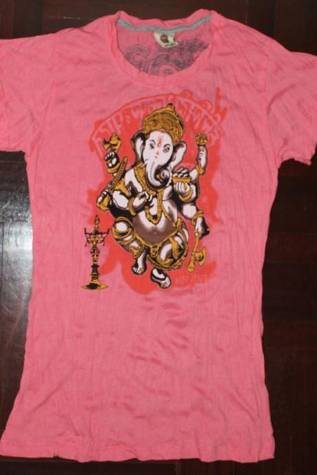 Women's T shirt SIZE S ONLY Ganesha Hindu OM Sign Hamsa Hand Yoga Clothing Buddha T-shirt Yoga Tee Elephant