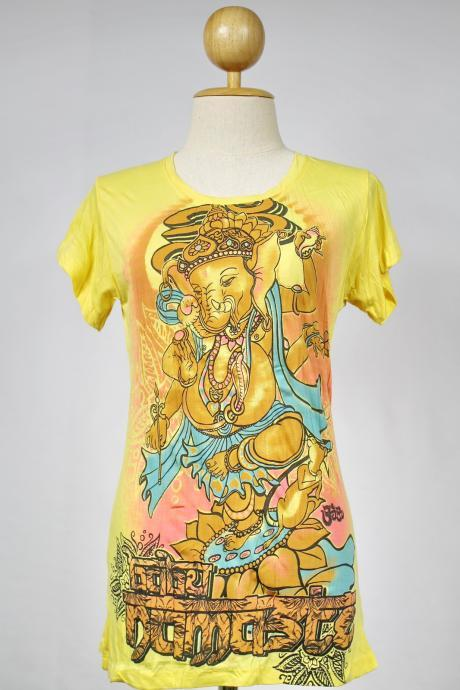 Ganesha T-shirt SIZE S ONLY Hindu God OM Hamsa Yoga Tee Yellow Namaste Elephant