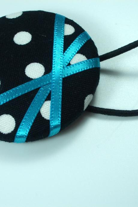 Ponytail Holder - Blue Polka - Giant Button