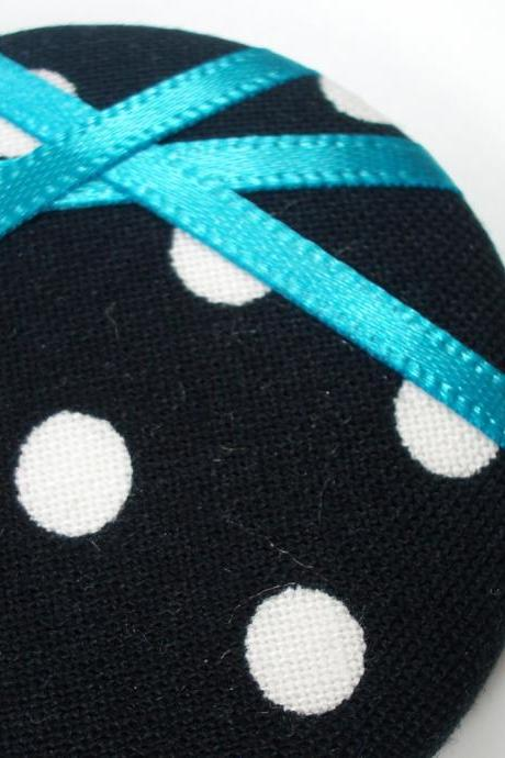 Brooch - Blue Polka - Giant Button