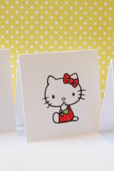 Blank mini cards kitty card set lunchbox notes mini note cards gift notes Set of 8 handmade mini cards