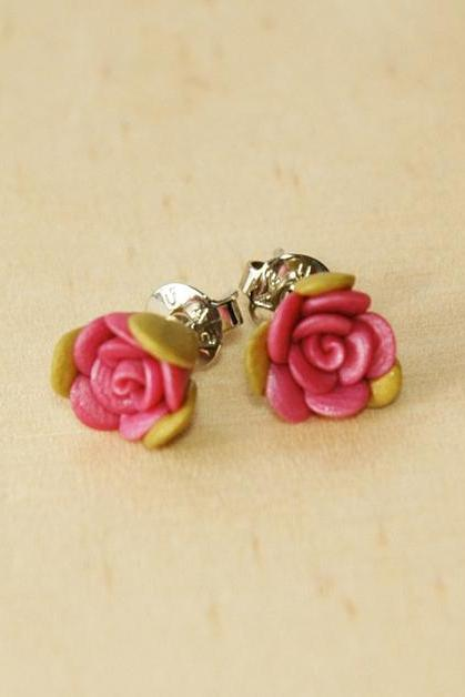 Lovely Shimmering Pink Mini Rose Ear Studs