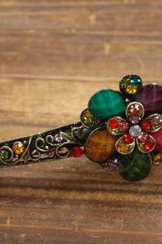 Colorful Stones and Rhinestone Blooming Claw Clips
