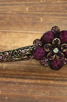 Violet Stones and Rhinestone Butterfly Claw Clips