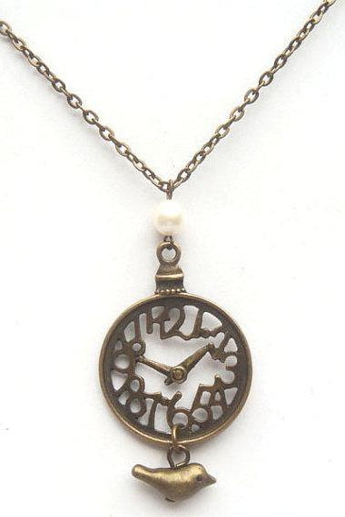 Antiqued Brass Clock Bird Pearl Necklace