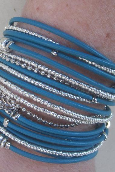 Turquoise Leather Wrap Bracelet with Silver Accents and Metallic Silver Glass Beads