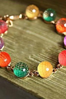 Rainbow Retro Style With 7 Color Candy Beads Bracelet, Sz 7-9 inch