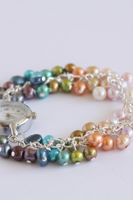 Rainbow Freshwater Pearls Bracelet Watch