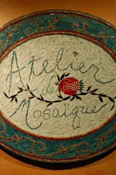 Atelier de Mosaique mosaic sign, custom piece for you, mosaic art