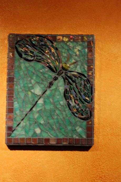 OOAK Custom Dragonfly Mosaic Art, stained glass