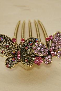 Rose Pink Gold Rhinestone Butterfly Hair Comb