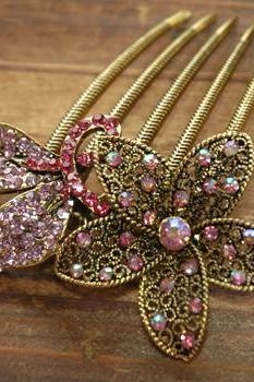 Rose Pink Gold Rhinestone Flower Blossom Hair Comb