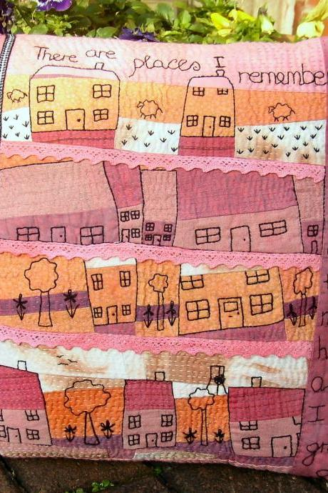 Hand Embroidered Art Pillow. 'Our House'
