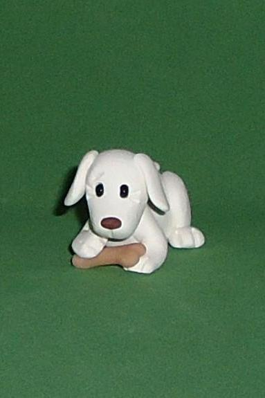 Polymer Clay White dog and bone