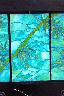 Triple Bamboo Mosaic Panel, framed for your home or office