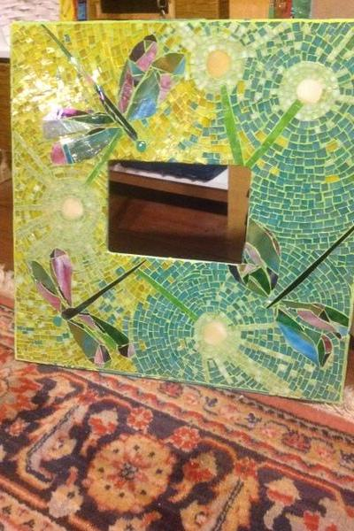 OOAK Custom Dandilions & Dragonflies Mosaic Stained Glass Art Frame