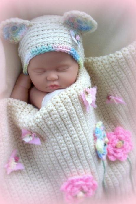 Blooming Baby Girl Blanket and Bear Hat set