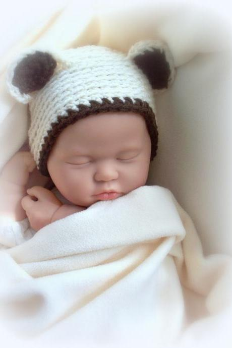 Baby Bear Beige and brown newborn 0 to 3 months hat