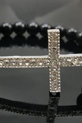 Simple Black Pearl Bracelet with Crystal Cross