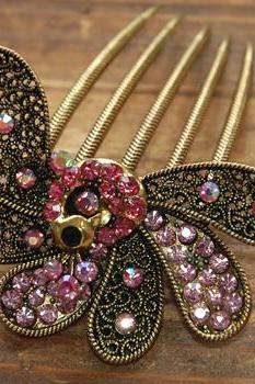 Gold Plated Pink Rhinestone Peacock Hair Comb