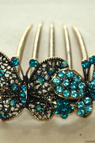 Teal Blue Gold Rhinestone Butterfly Hair Comb