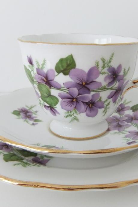 Royal Vale China Trio - tea cup, saucer and side plate in White Bone China with violets