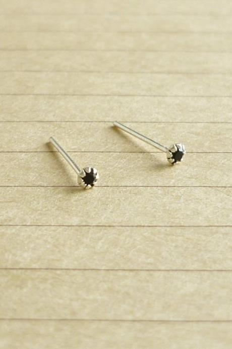 SALE - 2 mm - Very Tiny Jet/Black CZ Cartilage Ear Studs- 925 Sterling Silver Earrings - Cartilage Earrings - Gift under 10