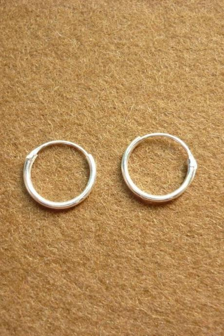 12 mm Hoop Earrings - Small Hoop 925 Sterling Silver Hoop Earrings - Gift under 10 - Nose Hoop Earrings - Silver Round Hoop Earrings