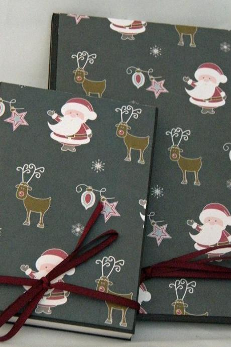 Happy Santa Covered Notebook Set in wine, charcoal, grey and white