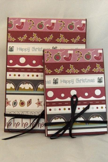 Christmas Stripes - Covered Notebook Set in wine, pink and charcoal