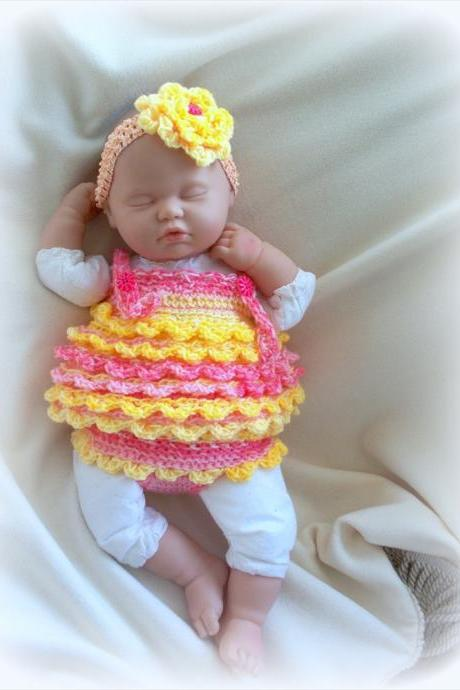 Baby Girl Crochet Diaper Cover, Headband and Dress Set