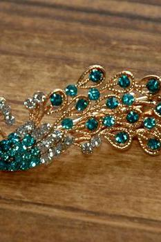 Turquoise Rose Gold Rhinestone Peacock Duck Clip