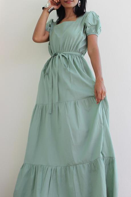 Sage Bridesmaids Dress - Cap Sleeve Maxi Dress : Women in Love Collection