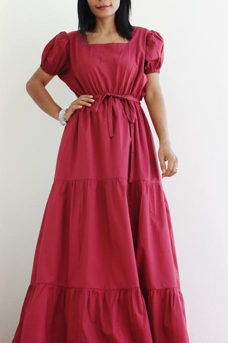 Wine Red Dress - Cap Sleeve Maxi Dress Bridesmaid Dress : Women in Love Collection
