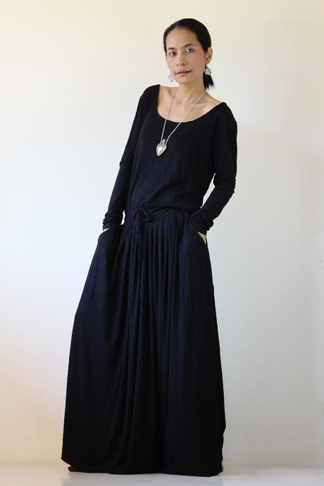 Black Maxi Dress - Long Sleeve dress