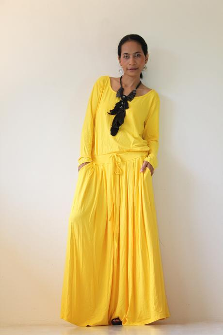 Yellow Maxi Dress - Long Sleeve dress