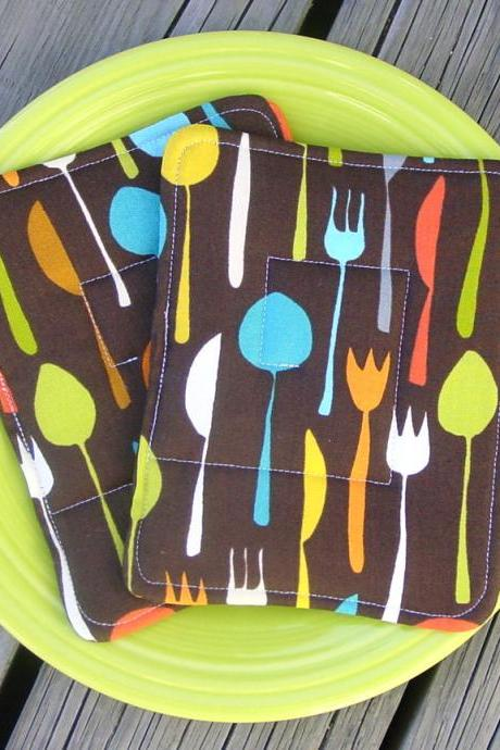 "Pot Holders - Metro Cafe - Two Quilted Hot Pads - Insulated and Cotton Batting - ""FLATWARE"""