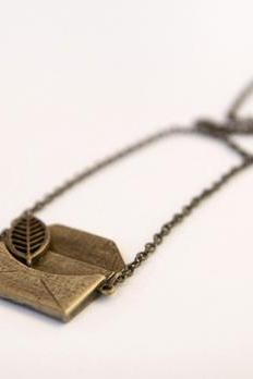 Large Leaf and Love Note Necklace, Antique Brass Vintage Style Necklace - Clementine