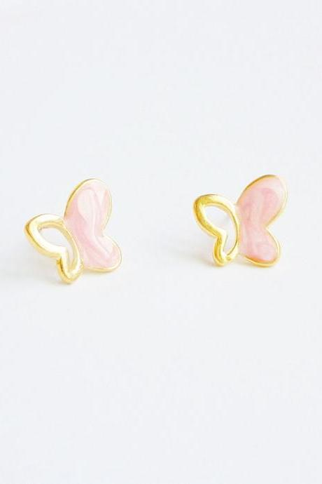 SALE - Large Pink Gold Butterfly Stud Earrings - Gift under 10