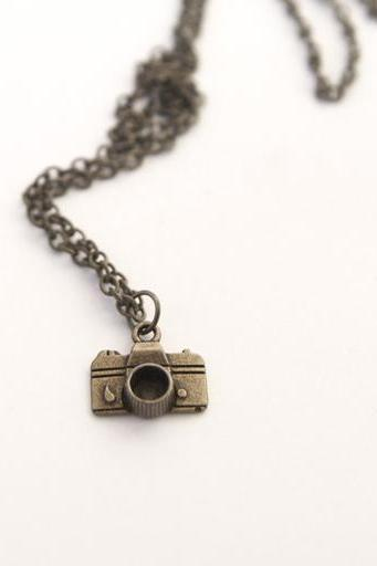 Small Camera Pendant Necklace Vintage Style with Antique Brass Chain perfect Stocking Stuffers