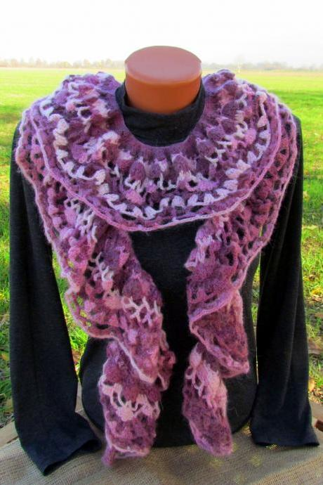 Knitted scarf crochet, colorful in pink range,winter,ladies, girls, handmade, iridescent, elegant