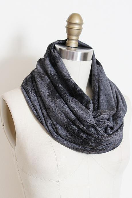 Infinity Scarf in Grey with Graphic Sketched Black Floral Print Loop Circle