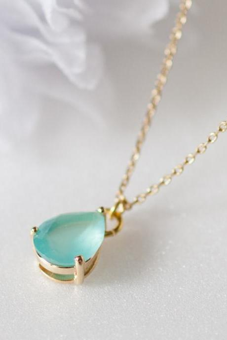 Mint teardrop Glass gold chain necklace